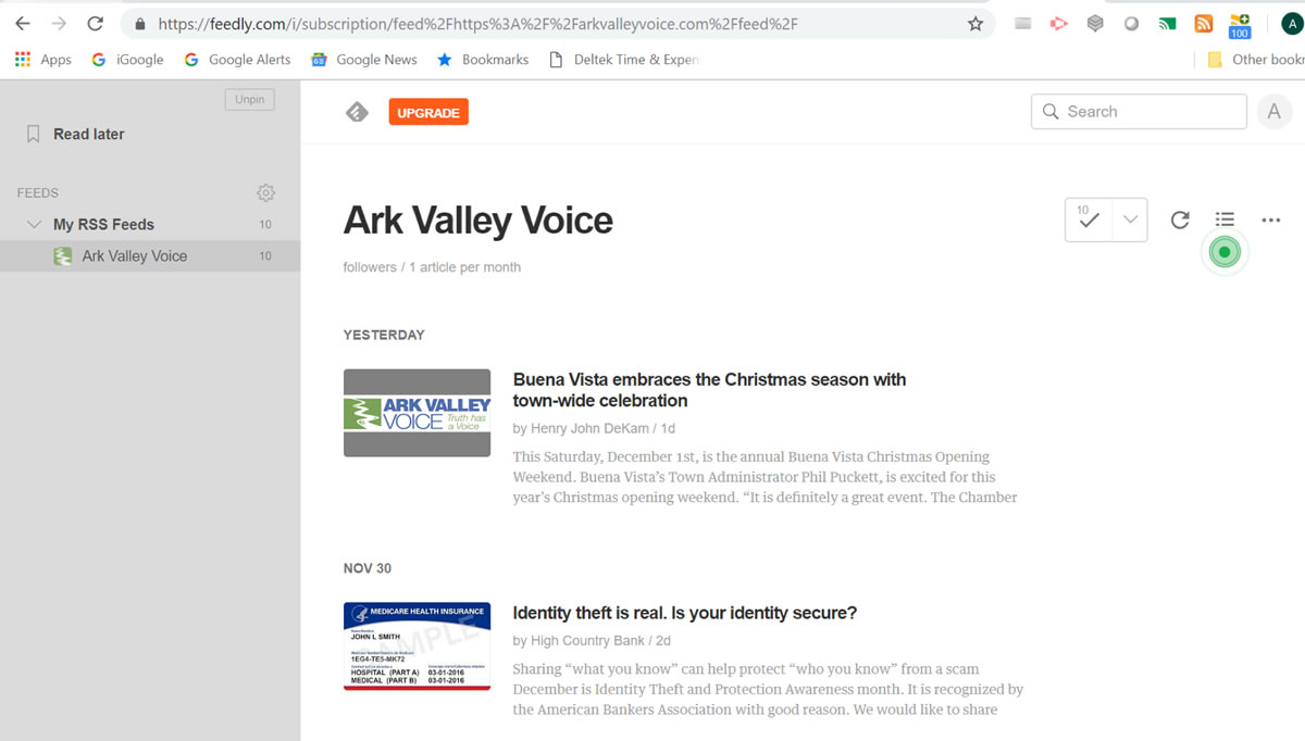 How to set up an RSS Feed - by Alison Brown - Ark Valley Voice