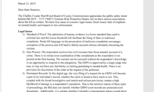 County elected officials issue statement with 'serious reservations' about Red Flag bill