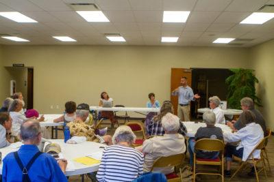 Dan Baer addresses the Chaffee County Democrats