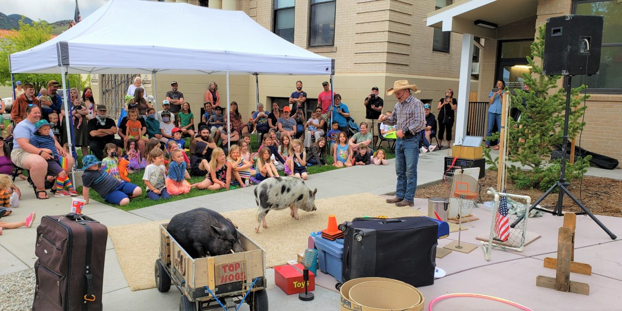 Top Hogs Show at Salida Regional Library Has Kids Squealing with Delight