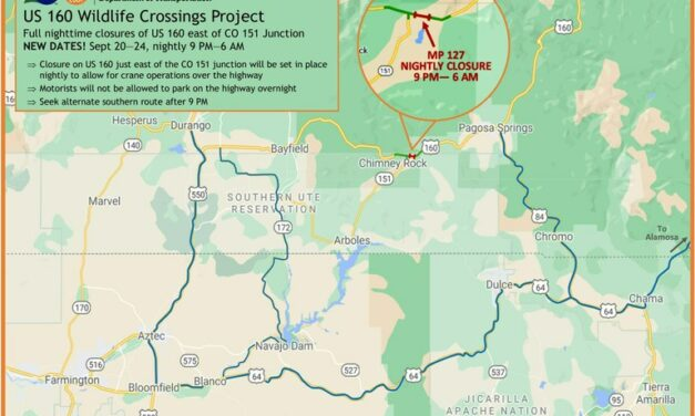Schedule Change for Highway 160 Nighttime Closures